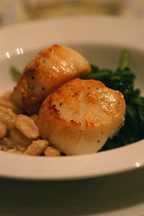 Seared Scallops with Spinach and White Beans