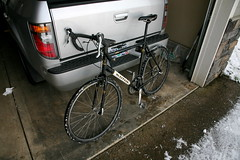 Cyclocross bike worked fine in the snowy streets