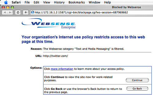 Twitter blocked by Websense