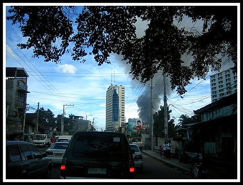 Fire in Mabolo as seen from Escario St.