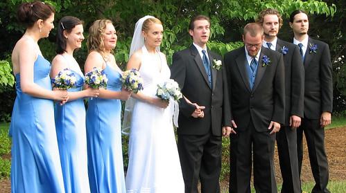 20070610 - Jess & Nate's wedding - (by Jess) - Amber, Sabrina, Sarah, Jess, Nate, James, Morgan, Greg - something funny happening - 544424253_23e58fccb8_b by General Disarray (ClintJCL).