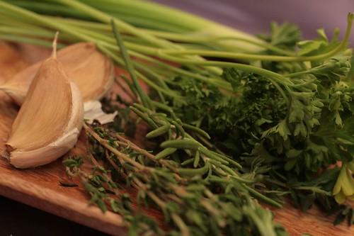 garlic, thyme, rosemary, and parsley