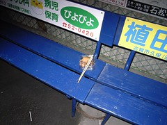 An unfinished croquette on Bench
