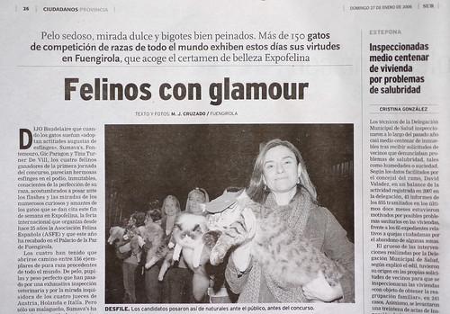 Noticia y foto aparecida en el diario SUR con la exposición felina celebrada en Fuengirola