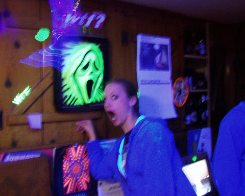 20070317 - Carolyn's birthday and St. Patrick's Day party - (by Casey) - 425418666_a2d0a5f816_b - Jess - blacklight kitchen The Scream