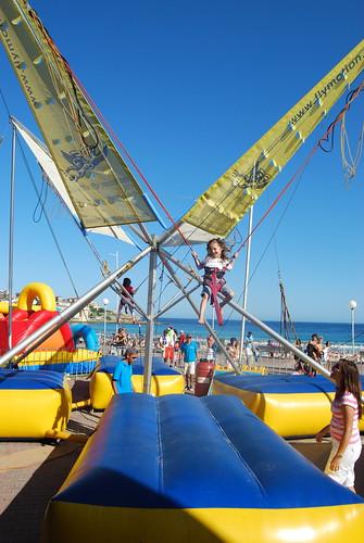 Grace Bungee Jumping at Bondi Beach.