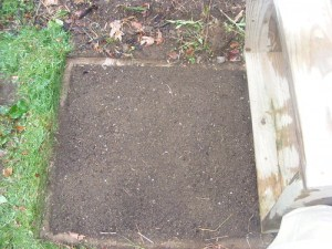 Sifted Soil in a neat 3ft square