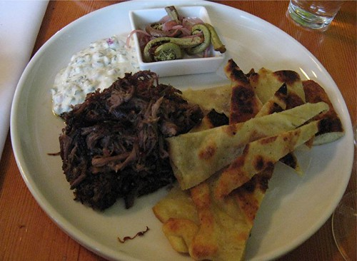 brisket with flatbreads and yogurt