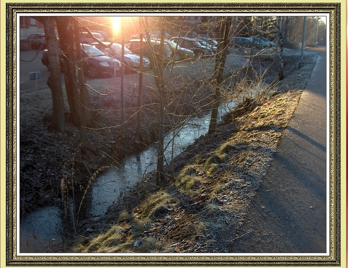 Sidewalk, Stream and Sunrays framed
