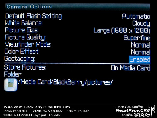 Geotagging en BlackBerry Curve 8310