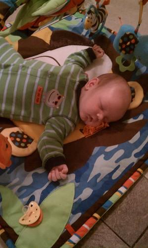 Asleep on the activity mat