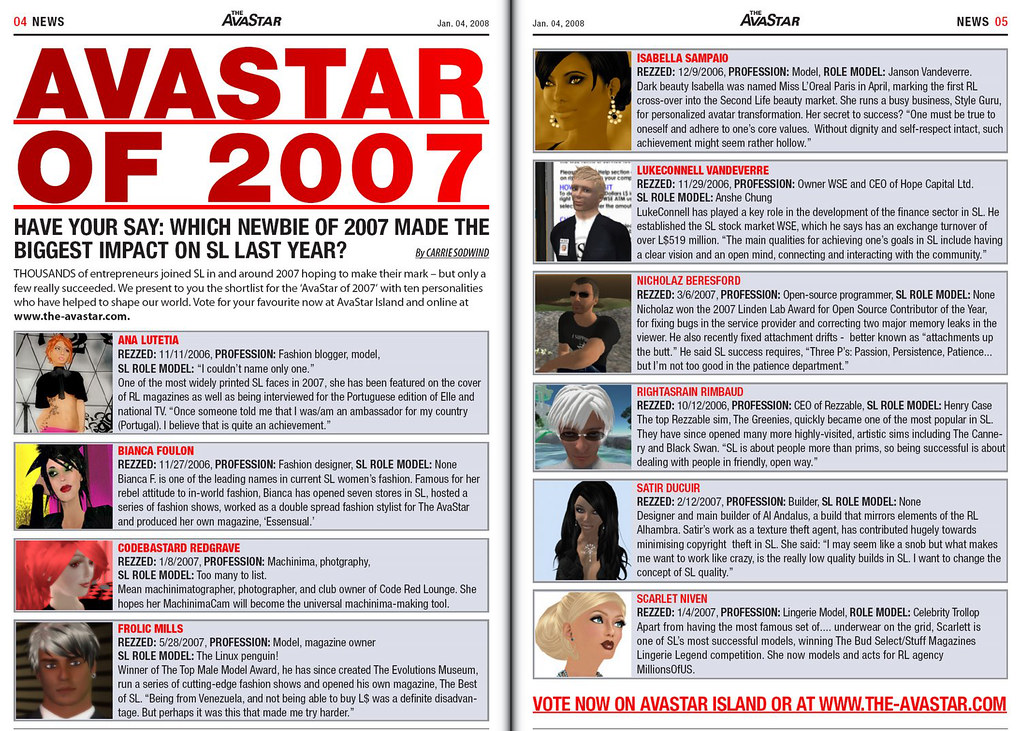 Avastar of 2007 – Get a (what?) Second Life