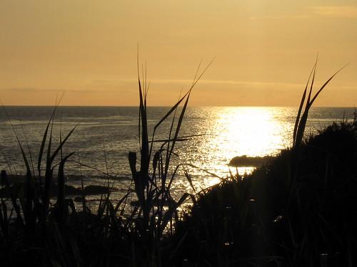 Sunset on Cambria's Moonstone Beach