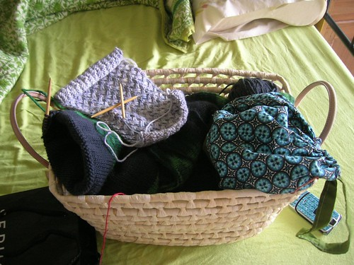 The basket of scarves.