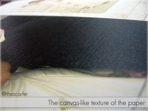 The canvas-like texture of the paper