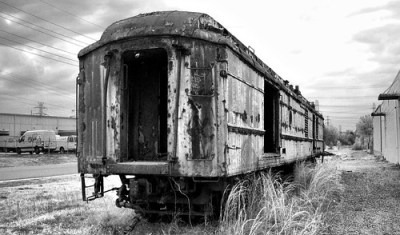 Railroad Car B&W