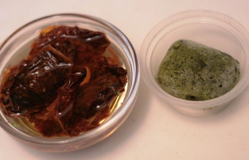 Oven-dried tomatoes in oil and frozen basil puree