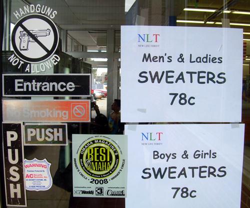 Sweaters 78 cents, handguns not allowed