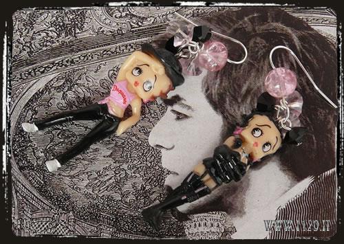 Orecchini Betty Boo in nero - Dark Betty Boo earrings IEBETTY
