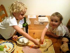 my nieces enjoying a baked Camembert