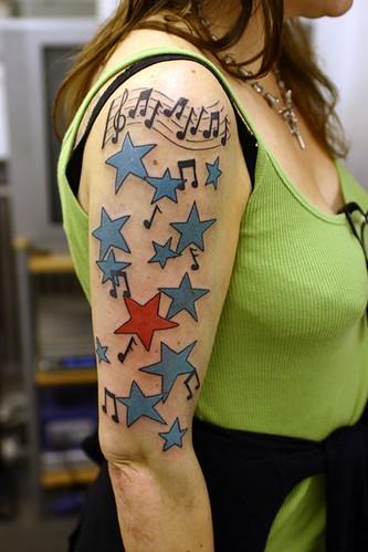 Musical-stars-tattoo by The Tattoo Studio. Tattooed at The Tattoo Studio,