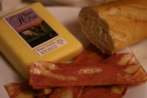 Local cheese, soy bacon and bread