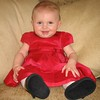 Photo of Claire in a very cute red dress