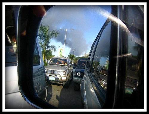 Mandaue fire as seen from my rear view mirror