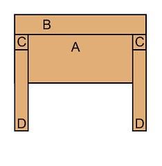 Headboard - diagram, back, assembled