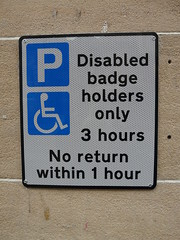 Disabled Badge Holders Only - photograph by gregwake from Flickr