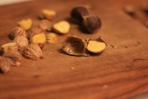 Peeling chestnuts by cutting in half