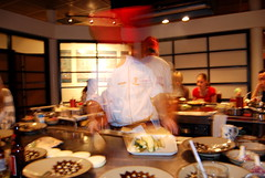 Fast moving chef at Benihana
