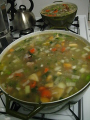 Vegetables in! It's soup