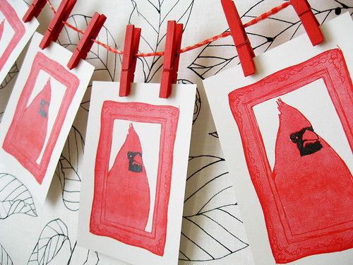 New cardinal gocco prints going into the shop soon!