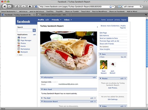Turkey Sandwich Report Facebook Page