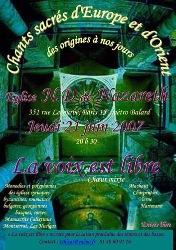 Affiche du concert du 21 juin 2007