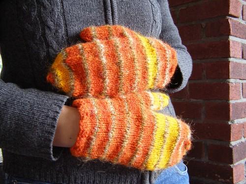orange rothko mitts - modeled