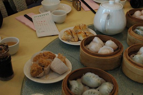 BBQ pork pastry, steamed prawn dumplings, steamed spinach dumplings, deep-fried taro pie