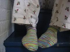 White rainbow socks