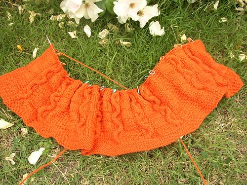 orange sweater six open