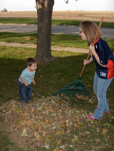 Mom and Xavier raking leaves