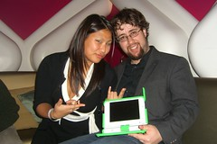 Emily and I rocking out the OLPC XO Laptop