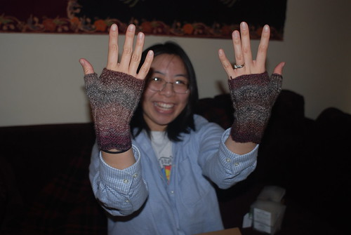 Pat wearing handspun fingerless mitts!