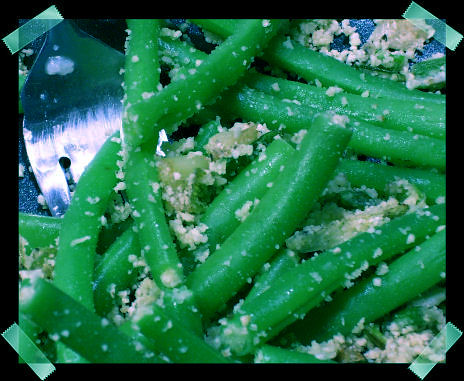 green beans with scallions and ground almonds