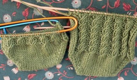 Cabletini Toe-Up Socks