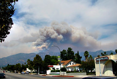 Station Fire smoke over Mt. Wilson