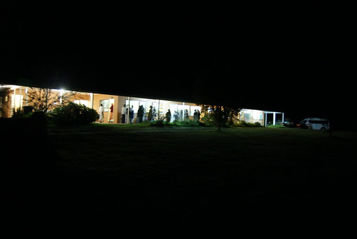 The lecture hall at night
