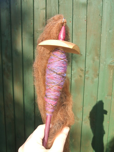 Spinning it up (whilst showing off new spindle)