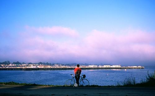 biker on west cliff drive