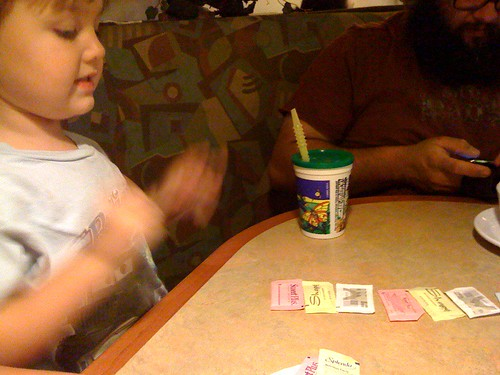 making patterns with sweetener packets